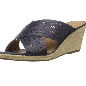 🆕 Lucky Brand Keela Leather Wedge Sandals  12